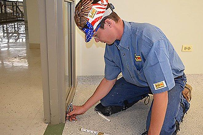 Veteran Installing Flooring