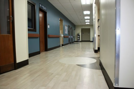 United States Department of Veterans Affairs NIHCS Fort Wayne Campus hallway flooring installation project by INSTALL