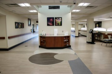 United States Department of Veterans Affairs NIHCS Fort Wayne Campus welcome center detail flooring installation project by INSTALL